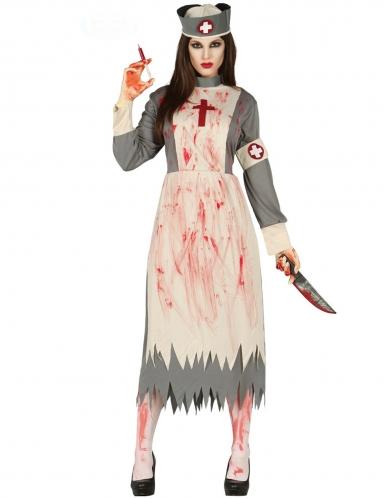 Retro Horror-Krankenschwester Damen-Kostüm weiss-grau-rot