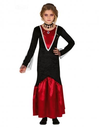 Elegantes Vampir-Kostüm für Mädchen schwarz-rot