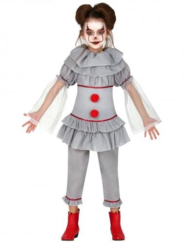 Killerclown-Kostüm für Mädchen grau-rot
