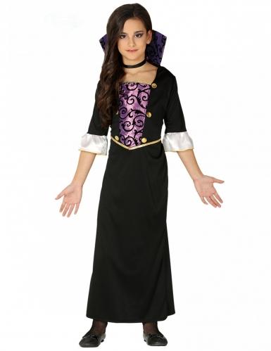 Vampir-Kostüm für Mädchen schwarz-violett-goldfarben