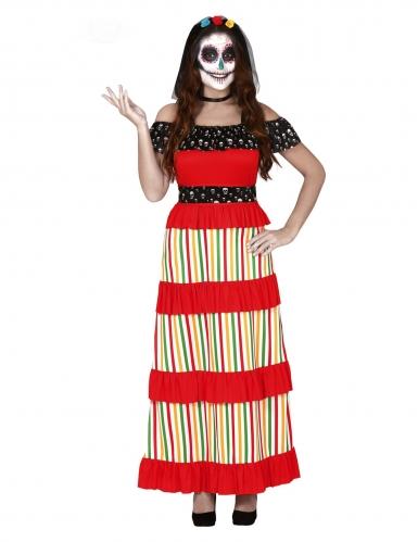 Dia de los Muertos Skelett-Damenkostüm bunt