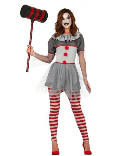 Killerclown-Kostüm für Damen grau-rot