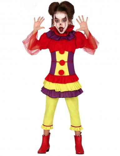 Böser Clown Halloween-Kostüm für Mädchen bunt