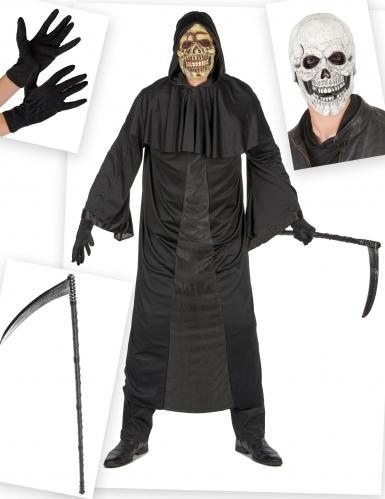 Sensenmann Kostüm-Set für Herren 5-teilig schwarz-grau