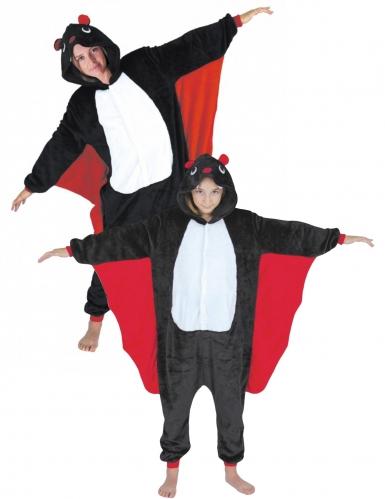 Süßes Fledermaus-Paarkostüm für einen Erwachsenen mit Kind schwarz-weiss-rot