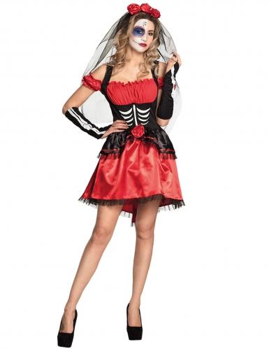 Elegantes Tag der Toten-Kostüm für Damen schwarz-weiss-rot