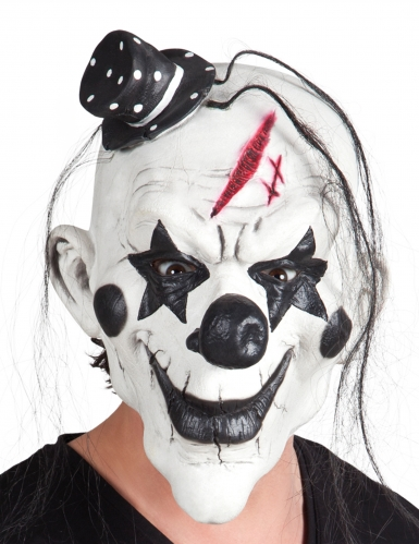 Psychoclown-Latexmaske für Erwachsene schwarz-weiß-rot