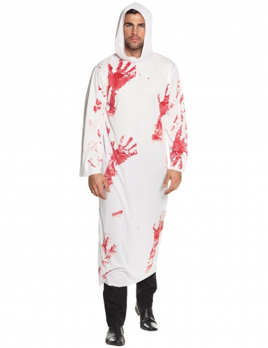 Blutiges Kapuzengewand Herren-Kostüm weiss-rot