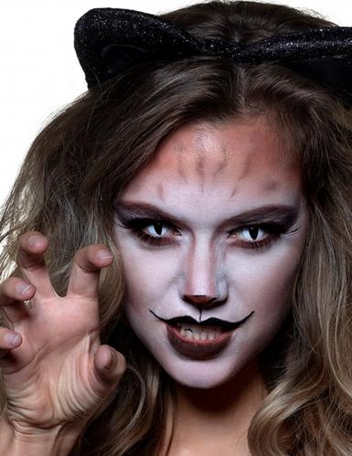 Wilde Katzen-Kontaktlinsen für Erwachsene schwarz-weiß