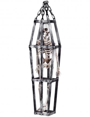Gefangenes Skelett im Käfig Halloween-Hängedeko grau-weiss 50 cm
