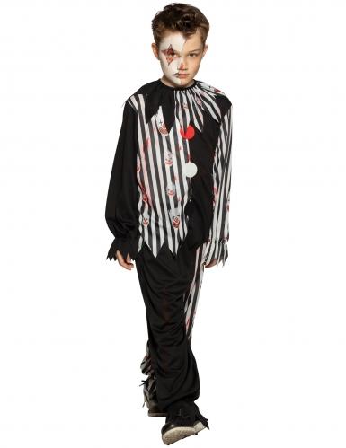 Trauriger Clown-Kostüm für Kinder Halloween-Kostüm schwarz-weiss-rot