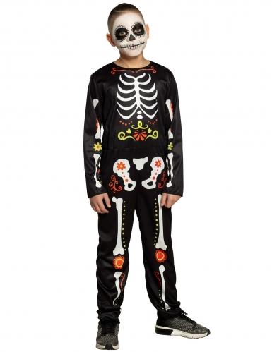 Dia de los Muertos Kinder-Kostüm für Jungen schwarz-bunt