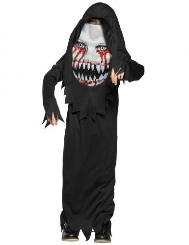 Gefrässiges Monster Halloween-Kinderkostüm mit riesigem Gesicht schwarz-weiss