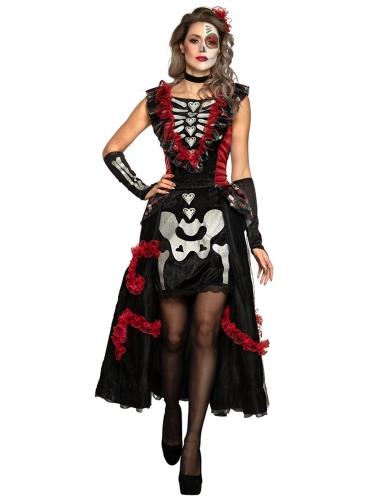 Aufwändiges Tag der Toten-Damenkostüm Halloween-Kostüm schwarz-rot