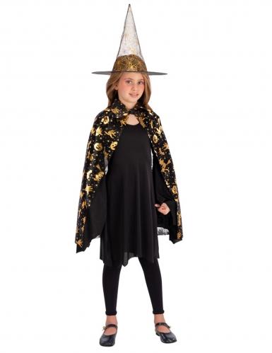 Kinder-Hexen-Hut mit Umhang schwarz-gold