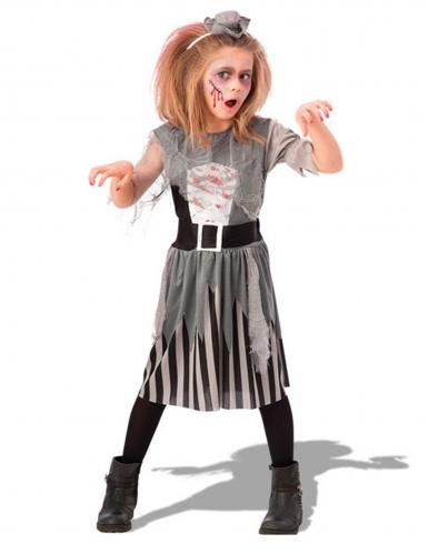 Piraten-Zombie Kostüm für Mädchen grau-schwarz