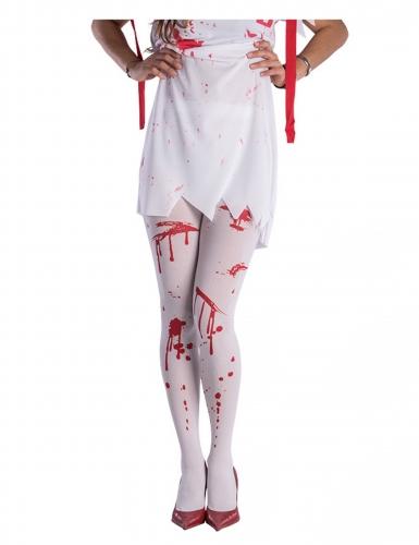 Blutige Strumpfhose für Damen weiss-rot