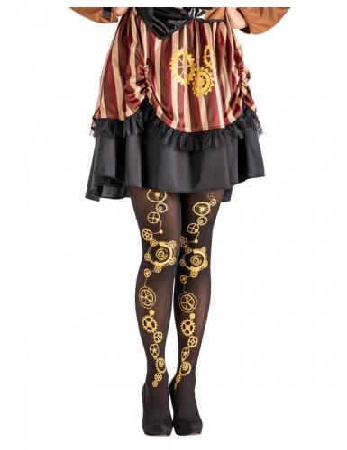 Steampunk-Strumpfhose für Damen schwarz-goldfarben