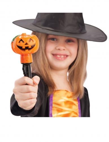 Leuchtender Kürbis-Stab für Kinder orange-schwarz