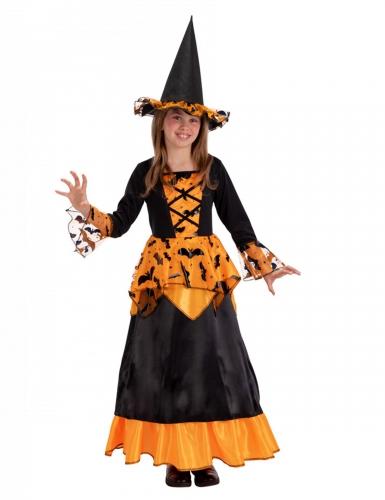 Fledermaus-Hexe Halloween-Kostüm für Kinder schwarz-orange