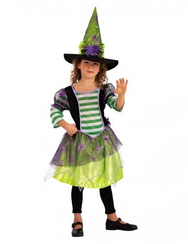 Schaurige Spinnenhexe Kinder-Kostüm für Halloween bunt