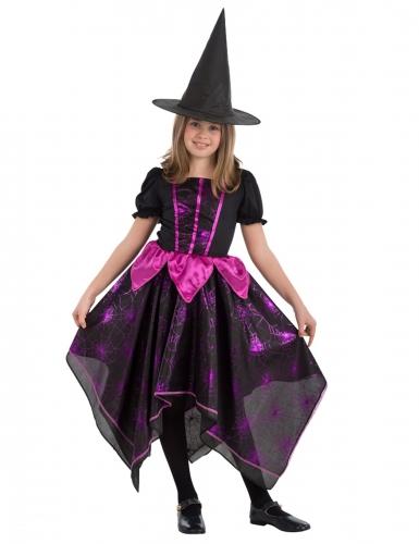 Spinnenhexe Kinder-Kostüm für Halloween schwarz-fuchsia