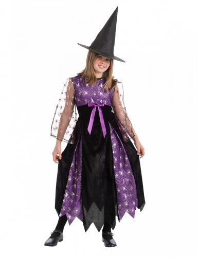 Spinnenhexe-Kostüm für Mädchen schwarz-violett-weiss
