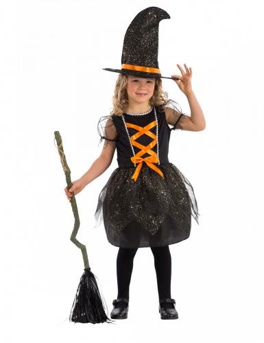 Hexen-Kostüm für Mädchen Kleid und Hut schwarz-orange