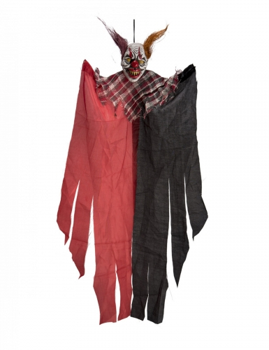 Horrorclown Hängedekoration für Halloween schwarz-rot-weiss