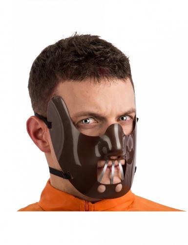 Kannibalen-Halbmaske für Erwachsene braun-grau