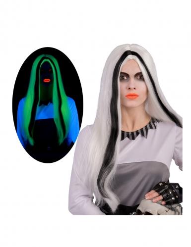 Phosphoreszierende Geister-Perücke für Damen weiss-schwarz