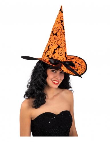 Fledermaus-Hexenhut für Damen orangefarben-schwarz 36 cm