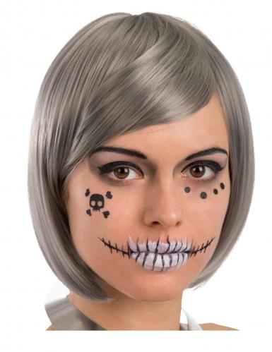 Skelett Klebe-Tattoos für Erwachsenen-Gesichter 6-teilig schwarz