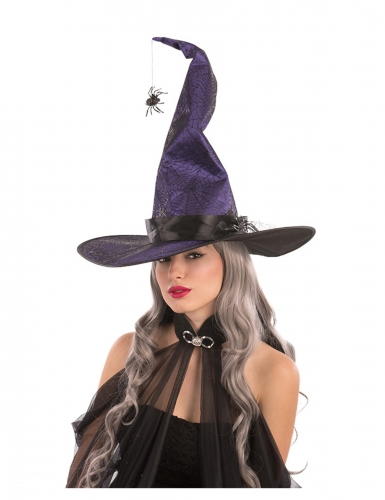 Spinnen-Hexenhut für Damen violett-schwarz 50 cm
