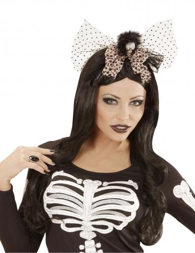 Skelett-Kopfschmuck für Damen Halloween-Accessoire schwarz-braun