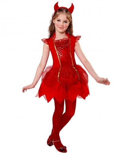 Niedliches Teufel-Kostüm für Mädchen Halloween-Kostüm rot