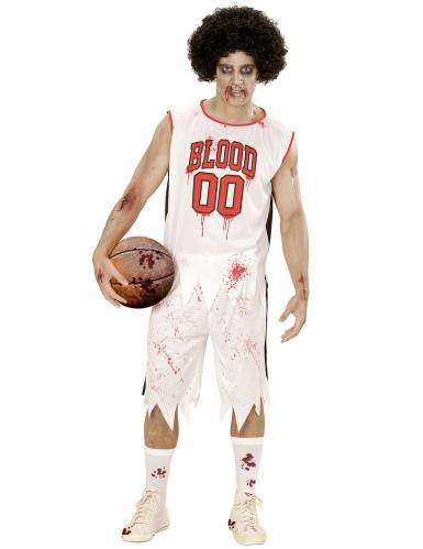 Gruseliger Basketballer Zombie-Kostüm für Herren weiss-rot