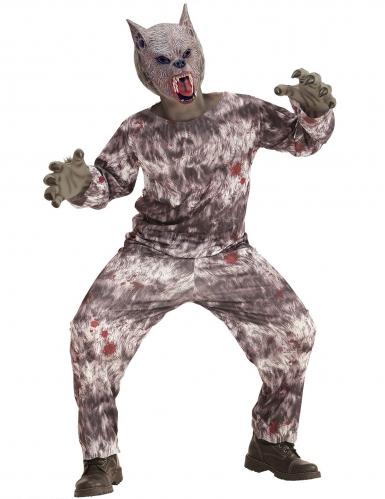 Animalisches Werwolf-Kinderkostüm braun-grau