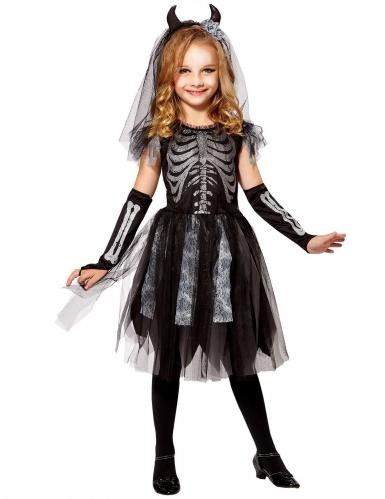 Schicke Skelettbraut Mädchen-Kostüm schwarz-silberfarben