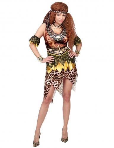 Voodoo-Zauberin Kostüm für Damen Halloween-Kostüm braun