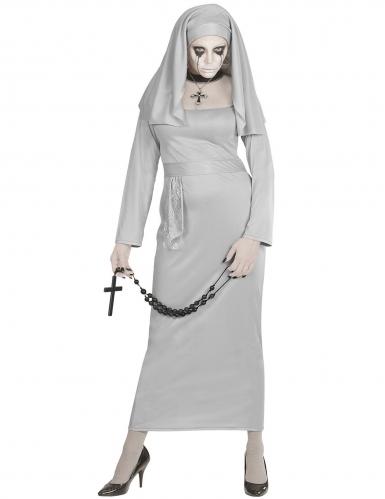 Fürchterliche Geister-Nonne Damen-Kostüm grau