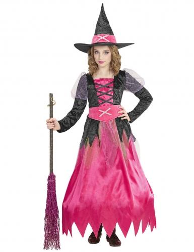 Niedliches Hexen-Kostüm für Mädchen Halloween-Kostüm pink-schwarz