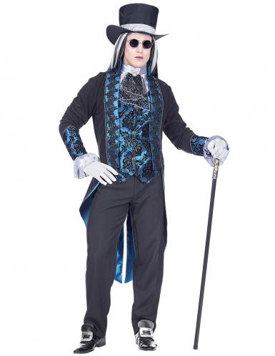 Adliger Vampir-Graf Herren-Kostüm schwarz-blau