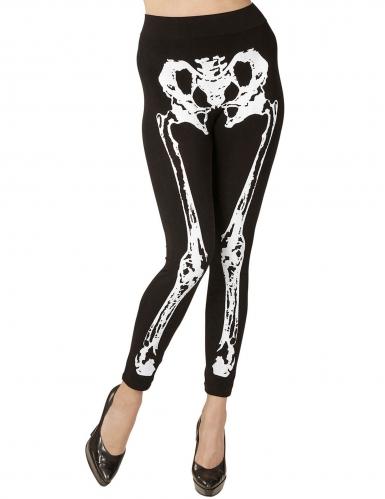 Elastische Skelett-Leggins für Damen Halloween-Kostümaccessoire schwarz-weiß