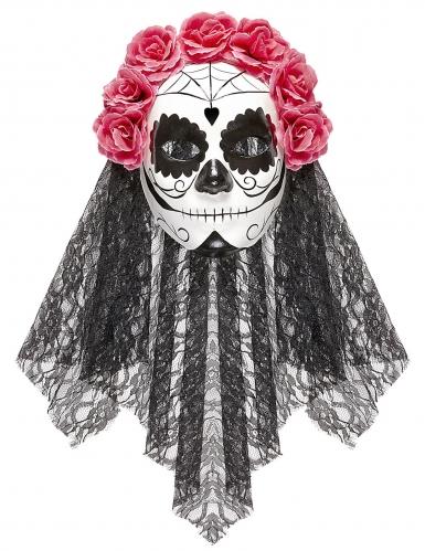 Dia de los Muertos-Vollmaske für Damen schwarz-weiß-rot