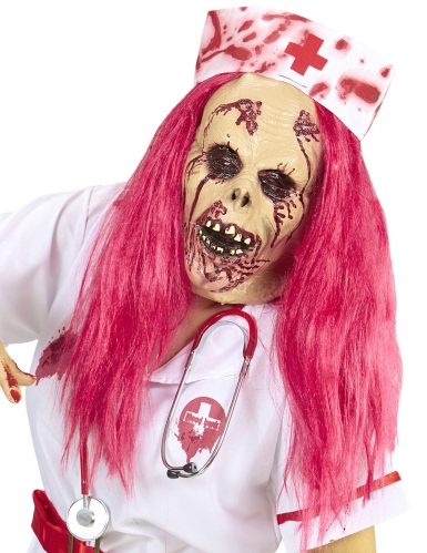 Furchterregende Zombiekrankenschwester-Maske für Damen mit Perücke pink-beigefarben