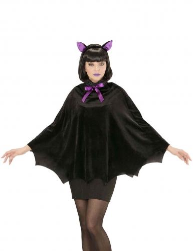 Fledermaus-Poncho für Damen schwarz-violett