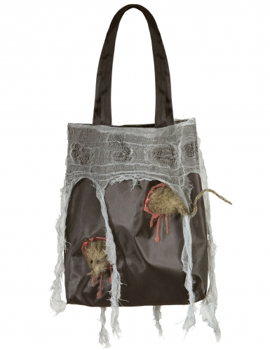 Gruselige Handtasche mit Ratte und Spinnweben schwarz-grau-weiß 52 x 24 x 4 cm
