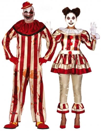 Horrorclown-Paarkostüm für Erwachsene Halloweenkostüm rot-beige