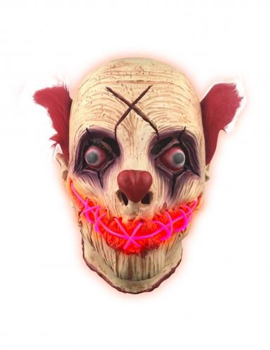 Horrorclown LED-Maske für Erwachsene beige-rot